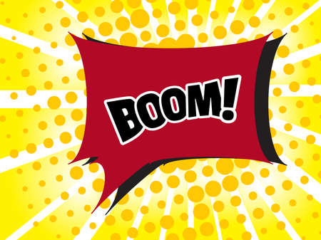 Comic boom text sound effect. Popart bubble speech cartoon background. Pop art boom effect vector illustration Illustration