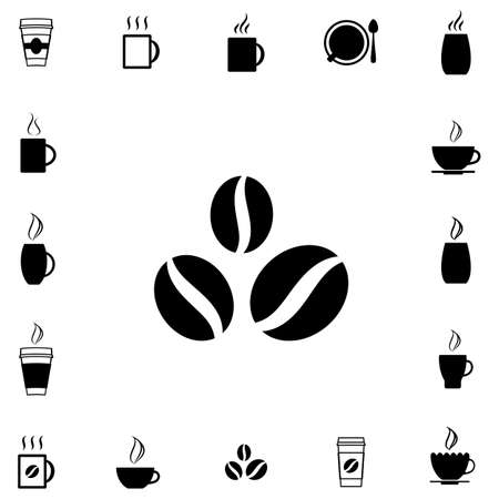 Coffee Bean Vector Icon Iisolated on White Background Çizim
