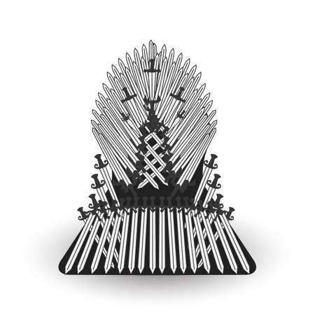 Iron throne for computer games design. Vector illustration Ilustração