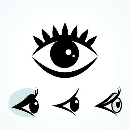 Set of Eye Icons Isolated on White Background. Ophthalmologist Logos or Elements Collection