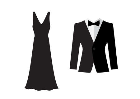 Dress and suit icons isolated on white background. Evening clothes symbols. Married couple logo