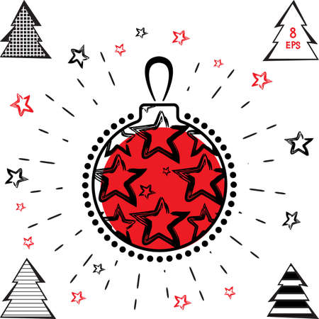 Christmas Ball and Christmas Tree Vector Icon With Black and Red Stars in Grunge Style. Hand Drawn Imitation Isolated White Background
