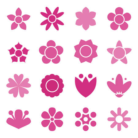 Flower icon collection in flat style. Daisy symbol or logo, template, pictogram. Blossom silhouette. Colorful 70s retro design vector illustration. Minimal style Illustration