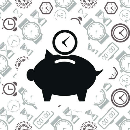 Time is money business metaphor icon. Superannuation vector illustration. Future profit or beneficiary sign