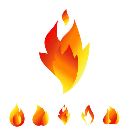 Fire icon set. Sign of the flame isolated on white background. Bonfire symbols Illustration