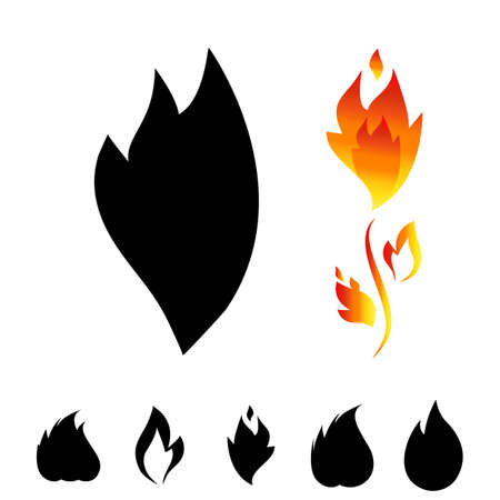 explosion hazard: Fire icon set. Sign of the flame isolated on white background