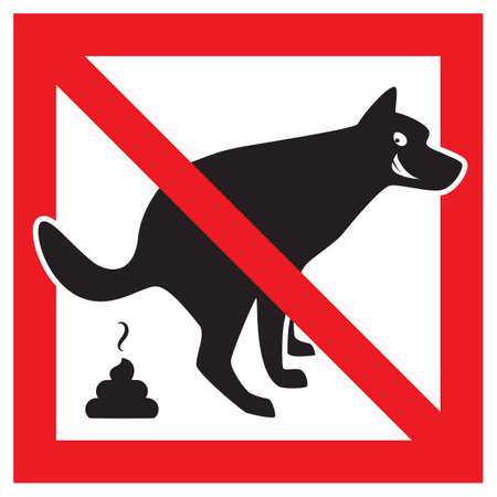 Dog Pooping Icon Vector Illustration. Pet Poop Forbidden Sign Stock Vector - 89012808