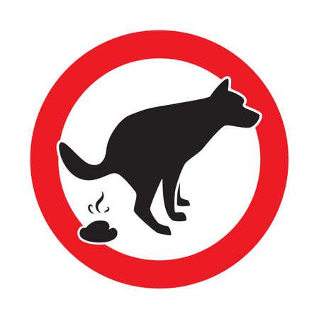 Chien Pooping icône Vector Illustration. Signe interdit de merde de compagnie Banque d'images - 89012972