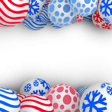 Christmas Balls Background. Festive Xmas New Year Design with Place for Text. 3d Vector Imitation Illustration
