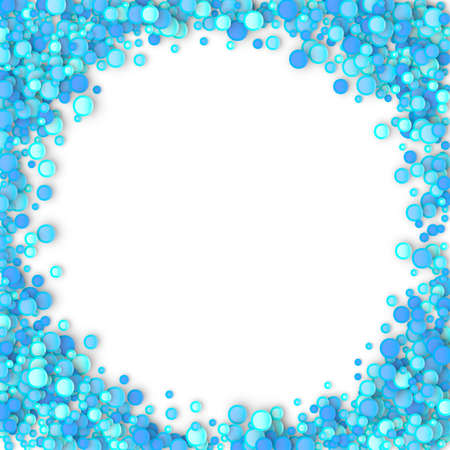 Blue carnaval confetti background made of dots. Snow Christmas pattern. 3d vector illustration for celebrate, anniversary party and birthday design