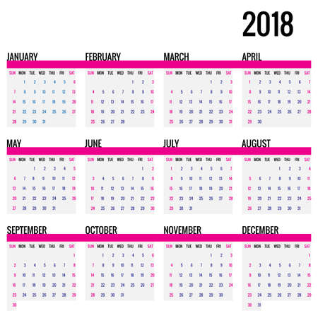 Simple 2018 year calendar. Square template, week starts on Sunday. Vector Illustration