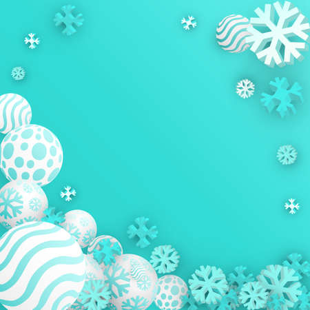 Christmas Balls Background. Festive Xmas New Year Design with Place for Text. 3d Vector Imitation.