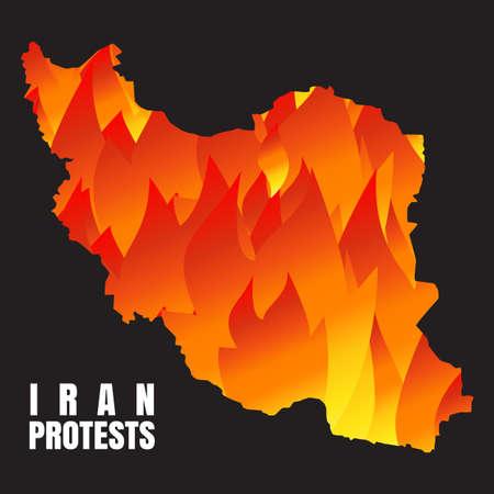 Iran protests concept. Vector illustration with Iran map ang flame. Иллюстрация