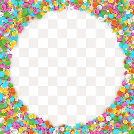 星、正方形、三角形、円幾何学的形状で作られた色のカーニバル紙吹雪の背景。記念日パーティーや誕生日のデザインのための3Dベクトルイラスト