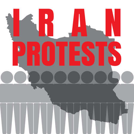 Iran protests and demonstrations against economic hardship and rising prices vector illustration with map.