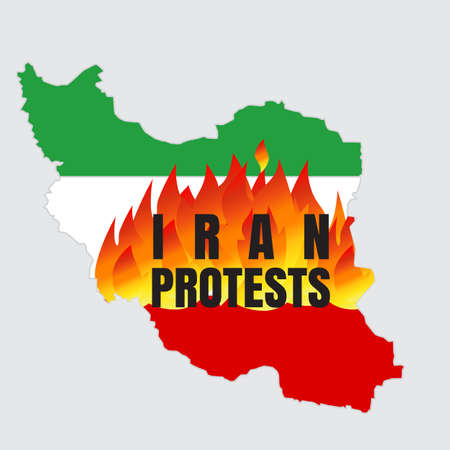 Iran protests concept vector illustration with Iran map and flag. Иллюстрация