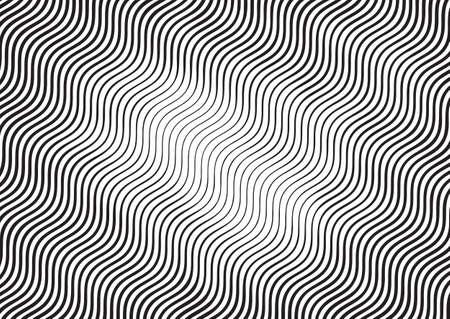 Wave halftone gravure zwart-wit gestreepte textuur. Gevoerde verloopsjabloon voor ontwerp, achtergrond, verpakking, website-decoratie. Vector Illustratie