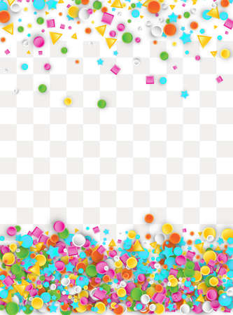 Colored carnival confetti background made of star, square, triangle, circle geometric shapes. 3d vector illustration for celebrate design.