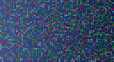 Javascript fictitious programming code background. Java language abstract pattern. Computer program vector illustration
