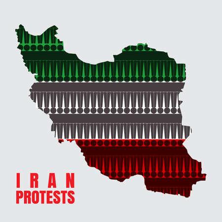 L'Iran protesta il concetto. Illustrazione vettoriale con bandiera mappa Iran.