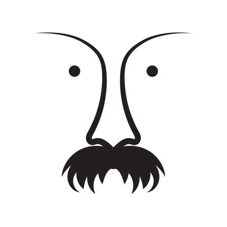 Ugly mustache and nose icon. Retro face symbol. Hand drawn black and white vector illustration.