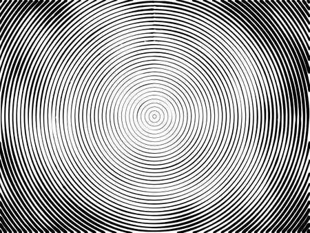 Concentric circles halftone engraving black and white striped texture. Lined gradient template for design, background, wrapping, website decoration. Illustration