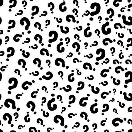 Interrogation seamless pattern with question marks. Simply endless texture of query or quiz symbols. Stock Illustratie