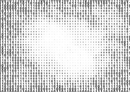 Binary computer code halftone pattern with 1 and 0 numbers. Matrix background with zero and one. Digital data cryptography texture.