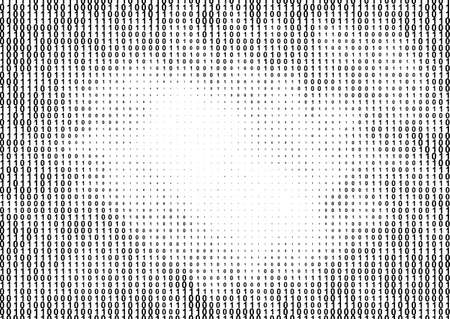 Binary computer code halftone pattern with 1 and 0 numbers. Digital data cryptography texture Illusztráció