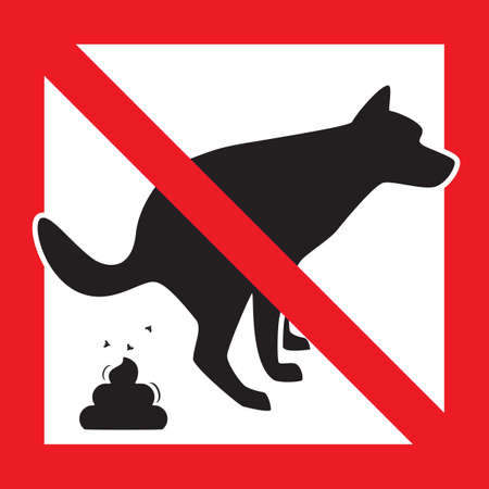 Dog Pooping Icon Vector Illustration. Pet Poop Forbidden Sign Illustration