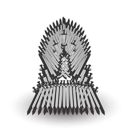 Iron throne for computer games design. Vector illustration Stock Illustratie