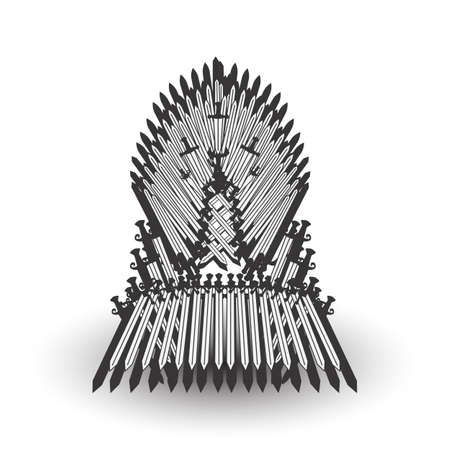 Iron throne for computer games design. Vector illustration Vettoriali