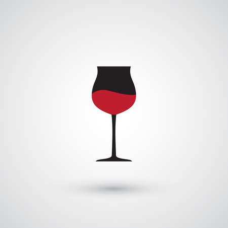 Wine Glass Vector Icon. Wineglass with Red Wine and Shadow on gray Background