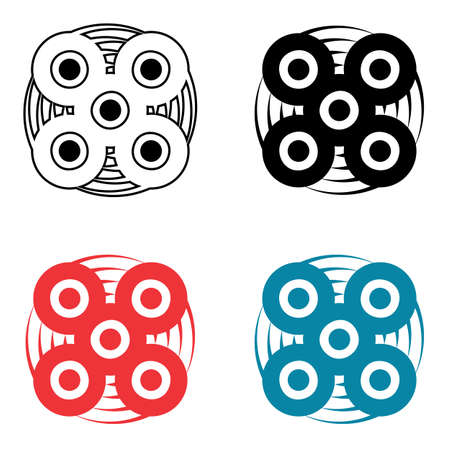Hand spinner icon isolated on white background. Fidget stress relieving toy vector illustration Illustration