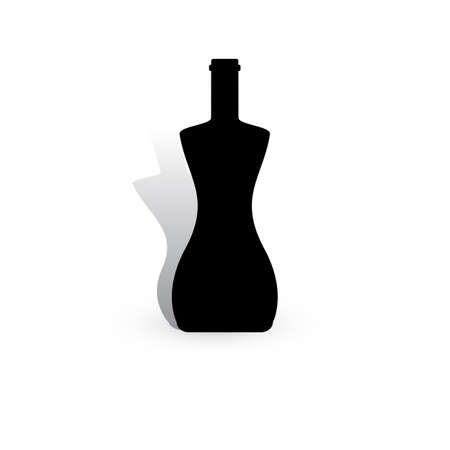 Wine Bottle Vector Icon. Alcohol Container Symbol Isolated on White Background
