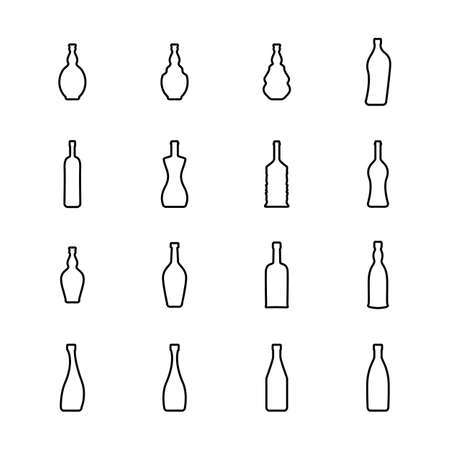 Wine Bottle Thin Line Vector Icon. Alcohol Container Symbol Isolated on White Background Vettoriali