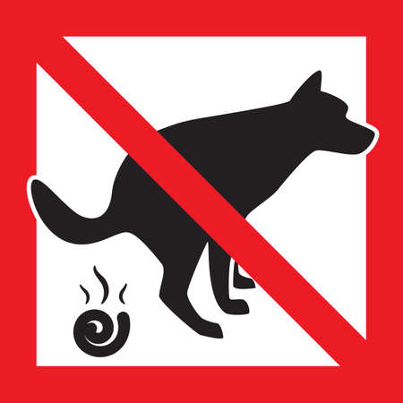 Dog Pooping Icon Vector Illustration. Pet Poop Forbidden Sign Stock Vector - 100821731