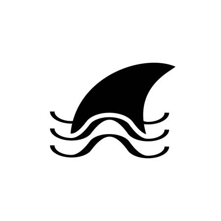 Fin in Wave Simple Vector Icon on White Background. Danger in Water Symbol. Sharkfin Sign Illustration