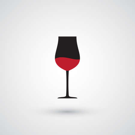 Wine Glass Vector Icon. Wineglass with Red Wine and Shadow on Grey Background Illustration