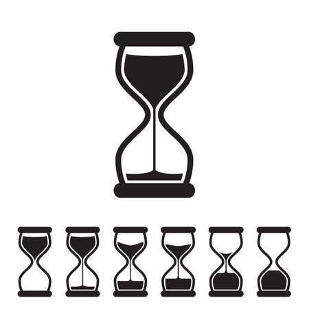 Black and White Vector Hourglass Collection. Sand Clocks for Sprite Sheet Animation. Vintage Hourglass Timer Sand as Countdown Illustration