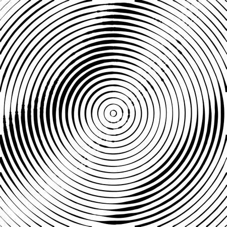 Concentric Circles Halftone Engraving Black and White Striped Texture. Lined Gradient Template for Design, Background, Wrapping, Website Decoration Illustration