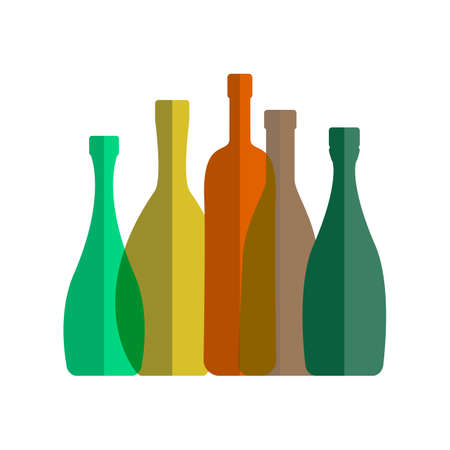 Transparent Wine Bottle Flat Vector Icon. Multicolored Alcohol Containers on White Background