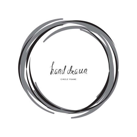 Hand drawn ink line circle or circular doodle sketches scribble. Black round frame isolated on white with place for text. Pencil art imitation 일러스트