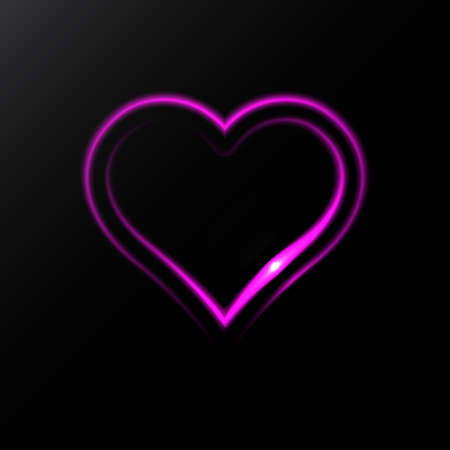 Neon Heart Icon Isolated on Black Background. Glowing Romantic Vector Illustration Çizim