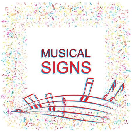 Hand Drawn Music Notes Vector Background. Musical Pattern with Place for Text