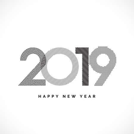 2019 Happy New Year Vector Numbers for Calendar Design. Winter Holidays Greeting Card with Halftone and Star Geometric Elements