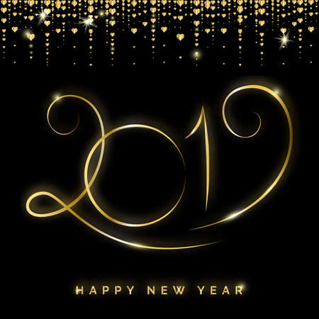 Gold 2019 Happy New Year Creative Vector Greeting Card. Winter Holidays Shining Background for Seasonal Flyers and Banners Çizim