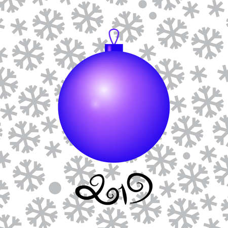 Christmas Ball Vector Illustration on Snow Background with 2019 Numbers