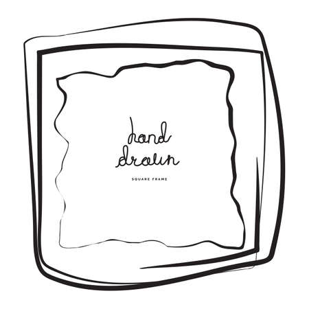 Hand drawn ink line square vector illustration. Doodle sketch or scribble for frames isolated on white background. Handwritten art imitation
