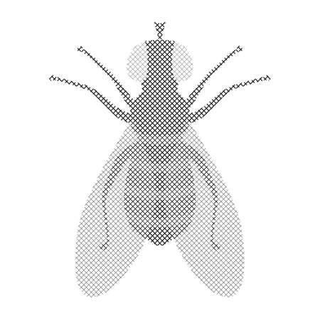 Półtony mucha ikona na białym tle. Symbol szkodnika w stylu grawerowania